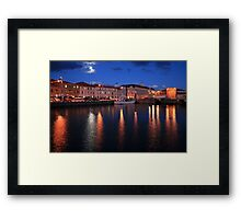 Moonlit Hobart Port, Tasmania, Australia Framed Print