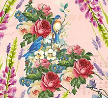 Vintage chic pink blue birds floral pattern by Maria Fernandes