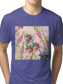 Vintage chic pink blue birds floral pattern Tri-blend T-Shirt