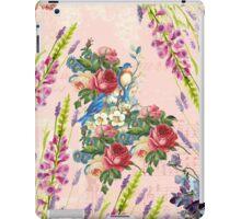 Vintage chic pink blue birds floral pattern iPad Case/Skin
