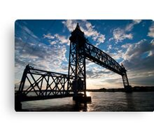 Cape Cod RR Bridge Silhouette Canvas Print