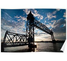 Cape Cod RR Bridge Silhouette Poster