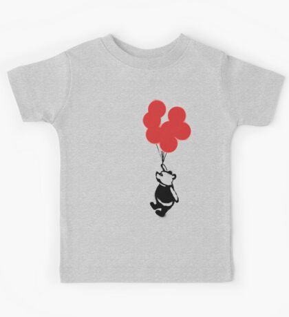 Flying Balloon Bear - Off Center Version (Red) Kids Tee