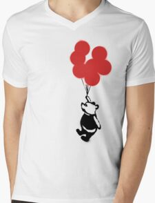 Flying Balloon Bear - Off Center Version (Red) Mens V-Neck T-Shirt