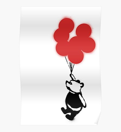 Flying Balloon Bear - Off Center Version (Red) Poster