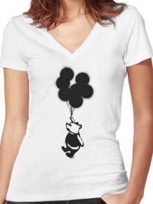 Flying Balloon Bear Women's Fitted V-Neck T-Shirt