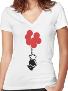 Flying Balloon Bear - Red Balloons Version Women's Fitted V-Neck T-Shirt
