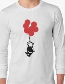 Flying Balloon Bear - Red Balloons Version Long Sleeve T-Shirt