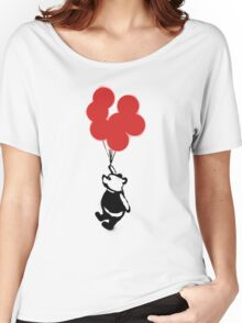 Flying Balloon Bear - Red Balloons Version Women's Relaxed Fit T-Shirt