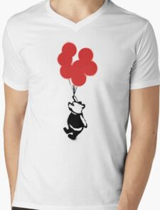 Flying Balloon Bear - Red Balloons Version Mens V-Neck T-Shirt
