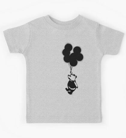Flying Balloon Bear - Off Center Version Kids Tee
