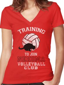 Training to join Nekoma Volleyball Club Women's Fitted V-Neck T-Shirt