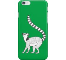 Ringtailed Lemur on Green iPhone Case/Skin