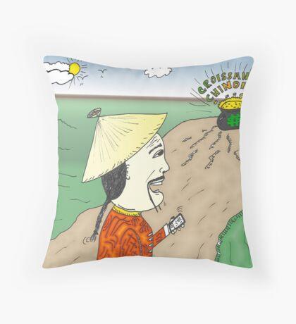 caricature de la croissance chinoise Throw Pillow