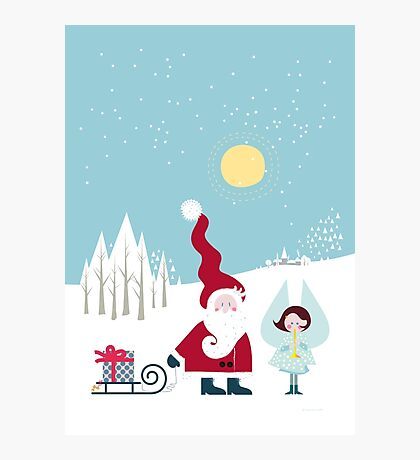 Santa and the Little Angel Photographic Print