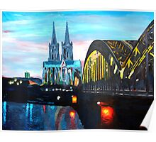Cologne, Cathedral with Hohenzollernbridge  Poster