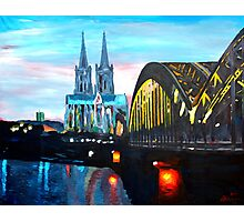 Cologne, Cathedral with Hohenzollernbridge  Photographic Print