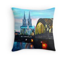 Cologne, Cathedral with Hohenzollernbridge  Throw Pillow