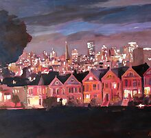 San Francisco Painted Ladies II - Painting by artshop77