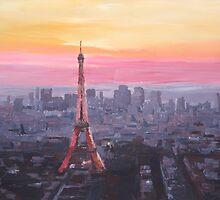 Paris Eiffel Tower at Dusk by artshop77
