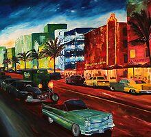 Ocean Drive Miami with Mint Cadillac by artshop77