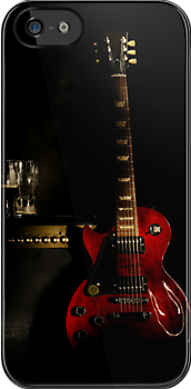 guitar and amplifier iPhone case by Moonlake