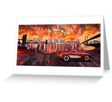 Corvette and Manhattan with two bridges Greeting Card