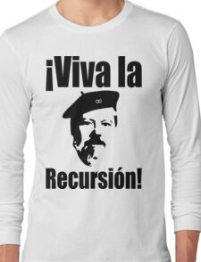 Dennis Ritchie: ¡Viva la Recursión! - Black on Red Design for Programmers Long Sleeve T-Shirt
