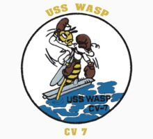 USS Wasp (CV-7) Crest for Dark Colors One Piece - Long Sleeve