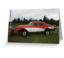 57 chevy turned snow plow Greeting Card