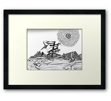 Crucified Dog in a Sea Of Lines Framed Print