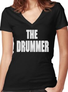 THE DRUMMER (DAVE GROHL / TAYLOR HAWKINS) WHITE Women's Fitted V-Neck T-Shirt