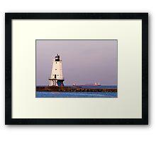 Ludington (Michigan) Light and Large Ship Framed Print