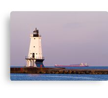 Ludington (Michigan) Light and Large Ship Canvas Print