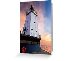 Sunset Sky with Ludington (Michigan) North Breakwater Light Greeting Card