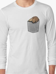 Sleeping puppy dog in a pocket Long Sleeve T-Shirt