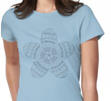 white mandala frangipani on deep blue ocean photo Womens Fitted T-Shirt