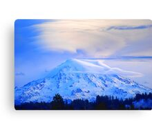 Lenticular Clouds Over Rainier Canvas Print