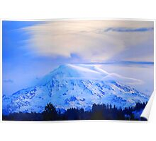 Lenticular Clouds Over Rainier Poster