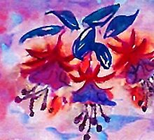 Revised, Fushia, the  dancing ballernias, watercolor by Anna  Lewis