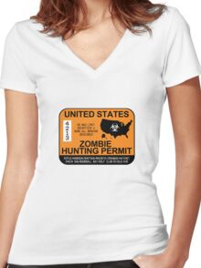 Zombie Hunting Permit 2012/2013 Women's Fitted V-Neck T-Shirt