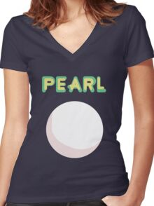 Pearl Crystal Gem Women's Fitted V-Neck T-Shirt