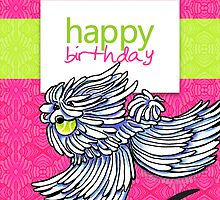 Puli / Komondor Kiwi Strawberry Birthday Card by offleashart