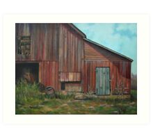 Red Barn Oil Painting Art Print