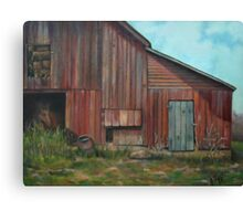 Red Barn Oil Painting Canvas Print