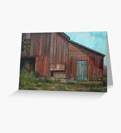 Red Barn Oil Painting Greeting Card