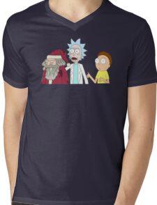 Rick And Morty Ft. Santa Mens V-Neck T-Shirt
