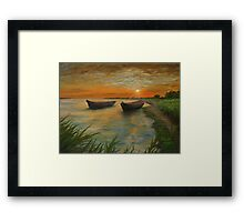 Boats on a Lake Painting Framed Print