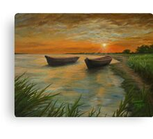 Boats on a Lake Painting Canvas Print
