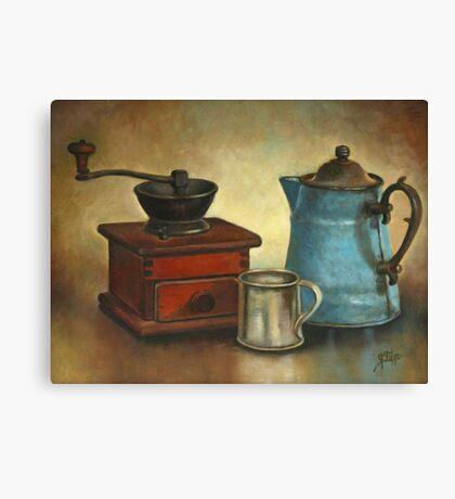 Coffee Pot and Grinder Painting Canvas Print